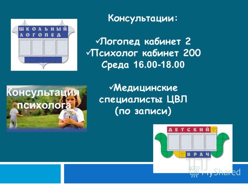 Консультации: Логопед кабинет 2 Психолог кабинет 200 Среда 16.00-18.00 Медицинские специалисты ЦВЛ (по записи)