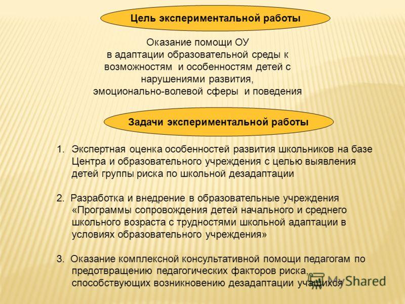 Цель экспериментальной работы Оказание помощи ОУ в адаптации образовательной среды к возможностям и особенностям детей с нарушениями развития, эмоционально-волевой сферы и поведения Задачи экспериментальной работы 1.Экспертная оценка особенностей раз