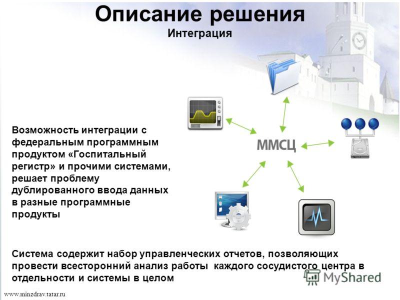 Описание решения Интеграция Возможность интеграции с федеральным программным продуктом «Госпитальный регистр» и прочими системами, решает проблему дублированного ввода данных в разные программные продукты Система содержит набор управленческих отчетов