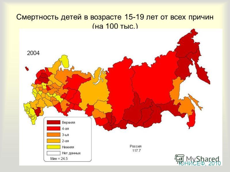 Смертность детей в возрасте 15-19 лет от всех причин (на 100 тыс.) ЮНИСЕФ, 2010