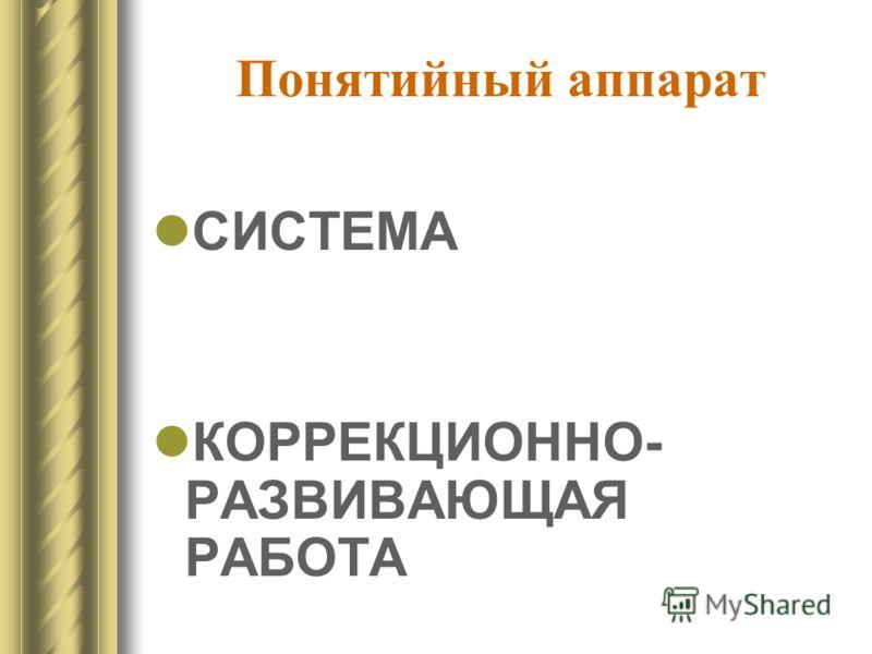 Понятийный аппарат СИСТЕМА КОРРЕКЦИОННО- РАЗВИВАЮЩАЯ РАБОТА