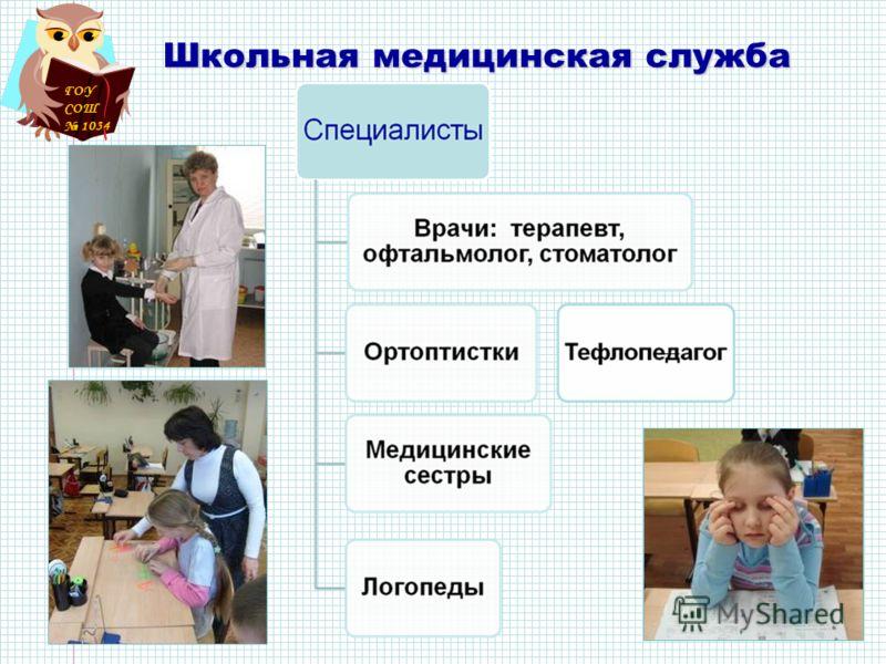 ГОУ СОШ 1034 Школьная медицинская служба