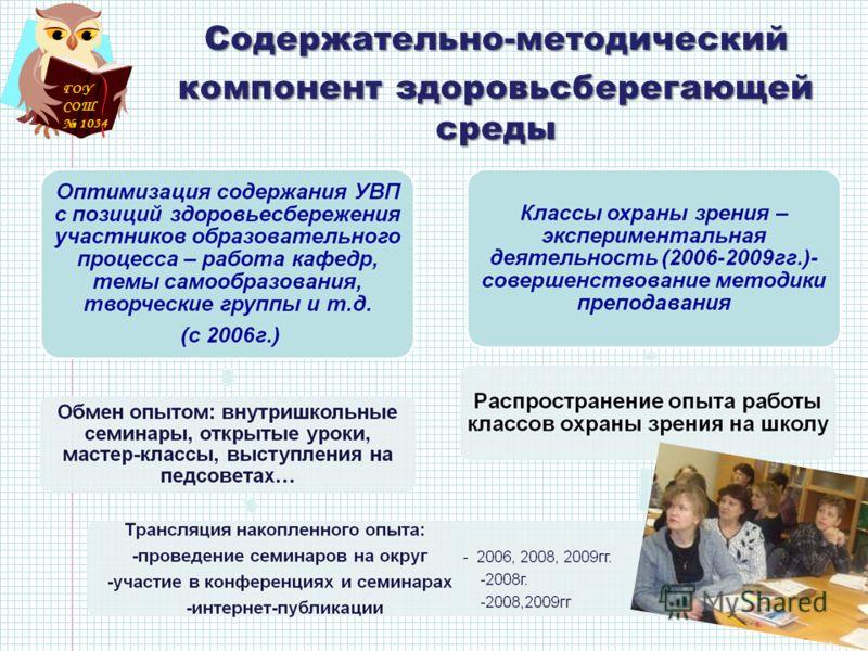 ГОУ СОШ 1034 Содержательно-методический компонент здоровьсберегающей среды