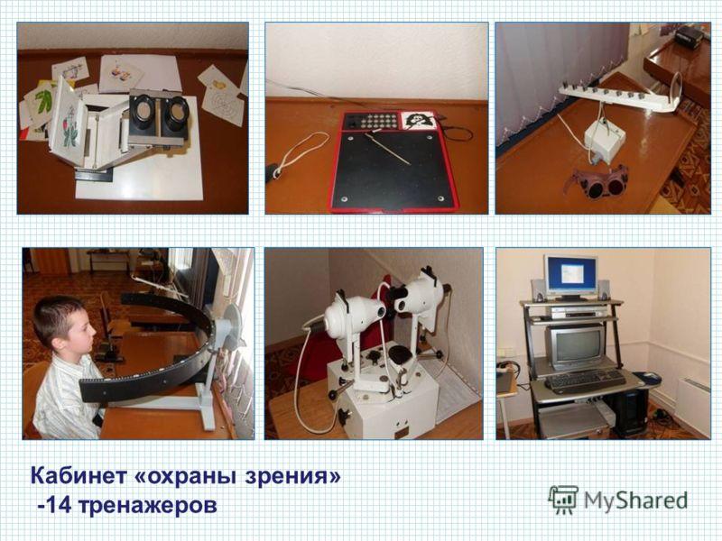 Оборудован кабинет «охраны зрения» -14 тренажеров Кабинет «охраны зрения» -14 тренажеров