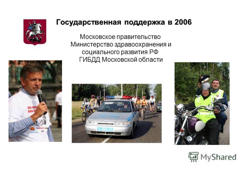 Государственная поддержка в 2006 Московское правительство Министерство здравоохранения и социального развития РФ ГИБДД Московской области