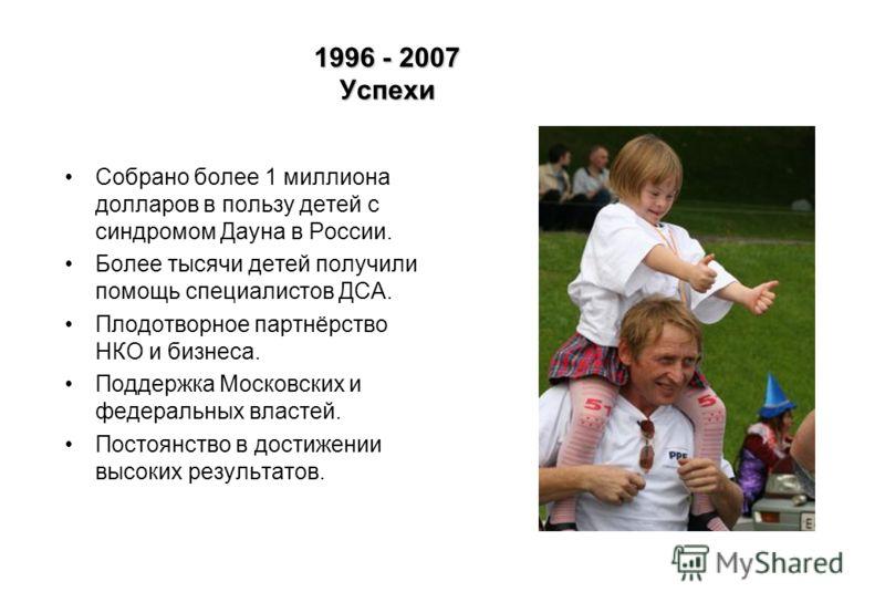 1996 - 2007 Успехи Собрано более 1 миллиона долларов в пользу детей с синдромом Дауна в России. Более тысячи детей получили помощь специалистов ДСА. Плодотворное партнёрство НКО и бизнеса. Поддержка Московских и федеральных властей. Постоянство в дос