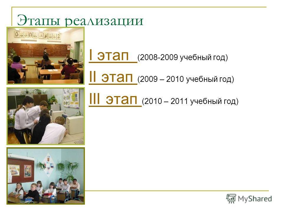 Этапы реализации I этап I этап (2008-2009 учебный год) II этап II этап (2009 – 2010 учебный год) III этап III этап (2010 – 2011 учебный год)