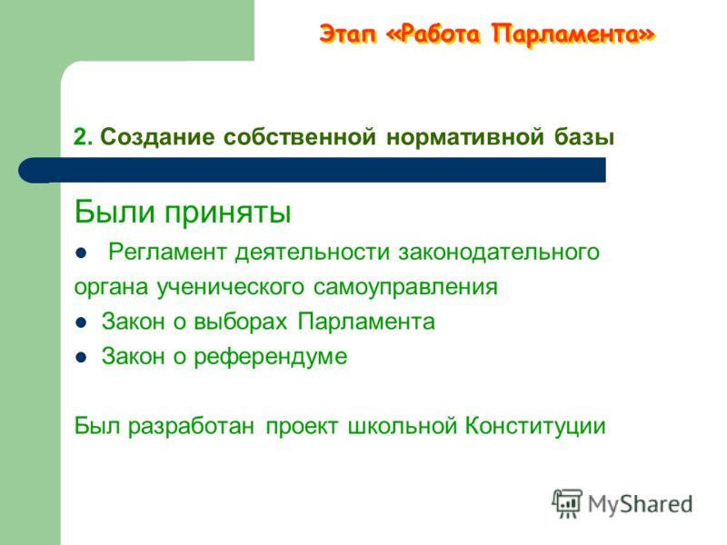 Структура школьного парламента. Этап «Работа Парламента»