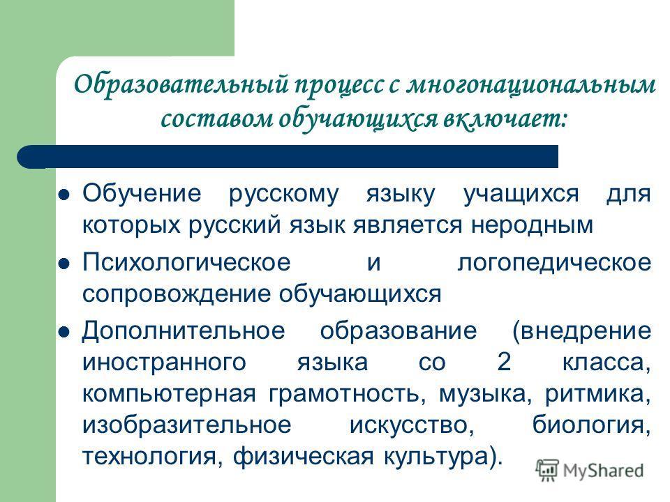 Образовательный процесс с многонациональным составом обучающихся включает: Обучение русскому языку учащихся для которых русский язык является неродным Психологическое и логопедическое сопровождение обучающихся Дополнительное образование (внедрение ин