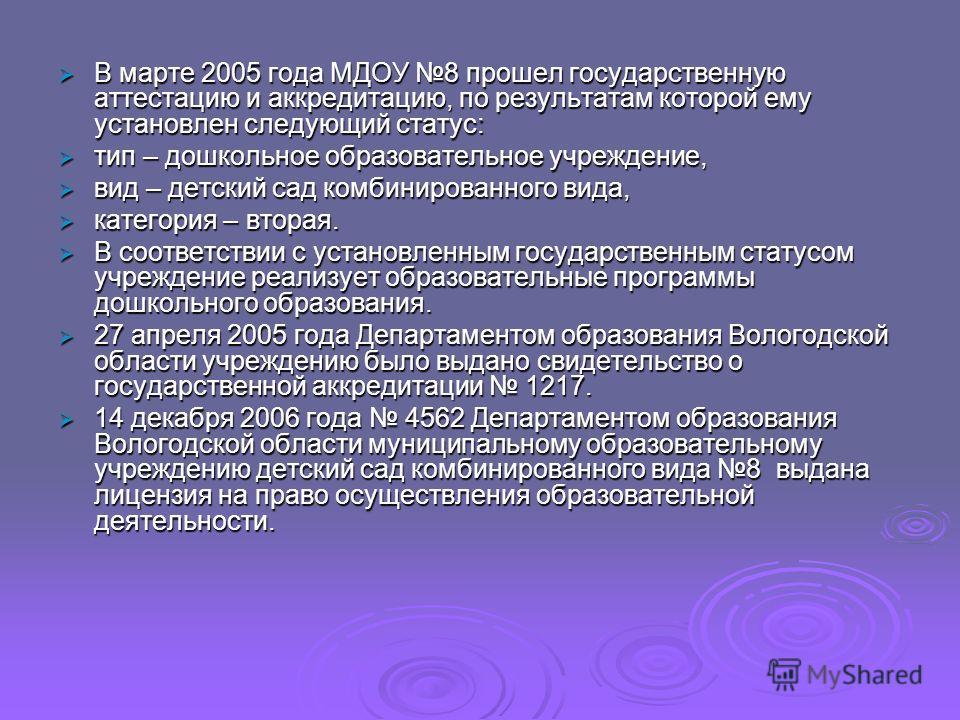 В марте 2005 года МДОУ 8 прошел государственную аттестацию и аккредитацию, по результатам которой ему установлен следующий статус: В марте 2005 года МДОУ 8 прошел государственную аттестацию и аккредитацию, по результатам которой ему установлен следую