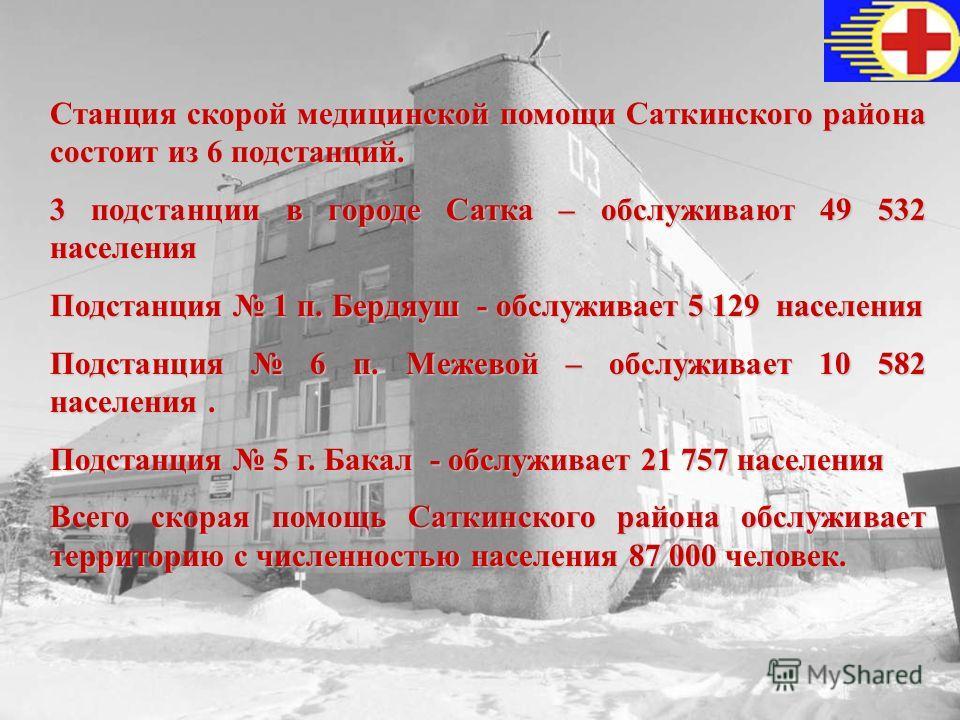 Станция скорой медицинской помощи Саткинского района состоит из 6 подстанций. 3 подстанции в городе Сатка – обслуживают 49 532 населения Подстанция 1 п. Бердяуш - обслуживает 5 129 населения Подстанция 6 п. Межевой – обслуживает 10 582 населения. Под