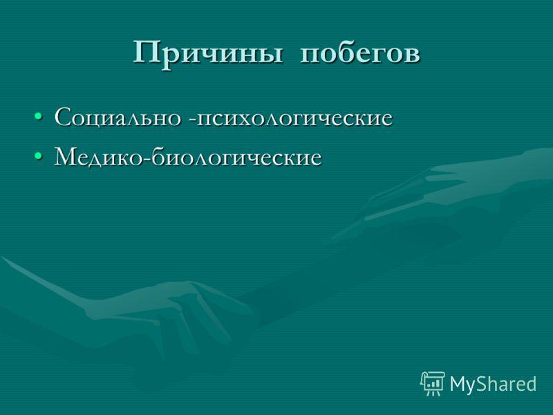 Причины побегов Социально -психологическиеСоциально -психологические Медико-биологическиеМедико-биологические