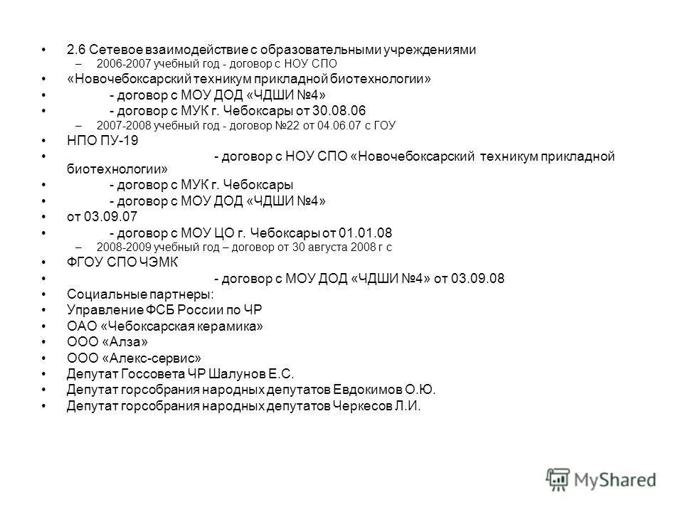 2.6 Сетевое взаимодействие с образовательными учреждениями –2006-2007 учебный год - договор с НОУ СПО «Новочебоксарский техникум прикладной биотехнологии» - договор с МОУ ДОД «ЧДШИ 4» - договор с МУК г. Чебоксары от 30.08.06 –2007-2008 учебный год -