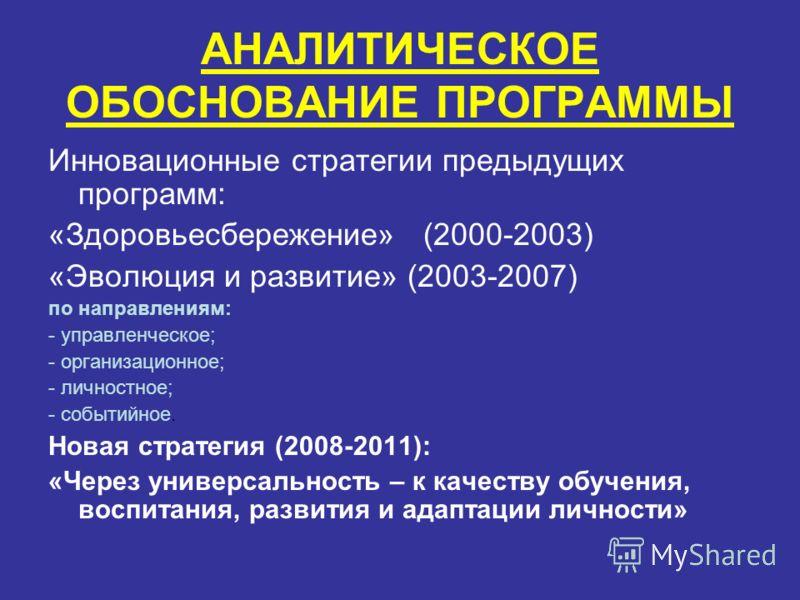 АНАЛИТИЧЕСКОЕ ОБОСНОВАНИЕ ПРОГРАММЫ Инновационные стратегии предыдущих программ: «Здоровьесбережение» (2000-2003) «Эволюция и развитие» (2003-2007) по направлениям: - управленческое; - организационное; - личностное; - событийное. Новая стратегия (200