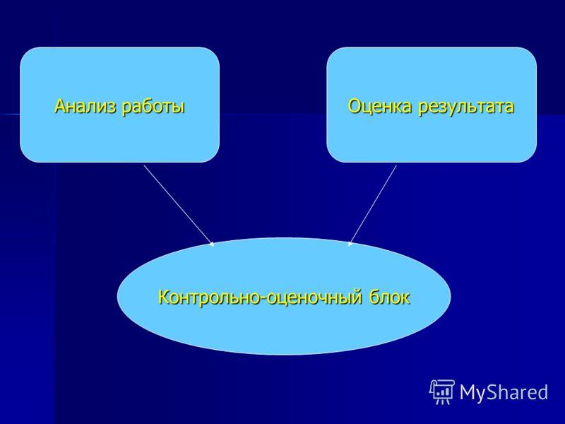 Контрольно-оценочный блок Анализ работы Оценка результата