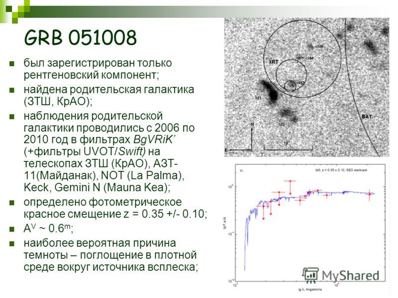 GRB 051008 был зарегистрирован только рентгеновский компонент; найдена родительская галактика (ЗТШ, КрАО); наблюдения родительской галактики проводились с 2006 по 2010 год в фильтрах BgVRiK (+фильтры UVOT/Swift) на телескопах ЗТШ (КрАО), АЗТ- 11(Майд