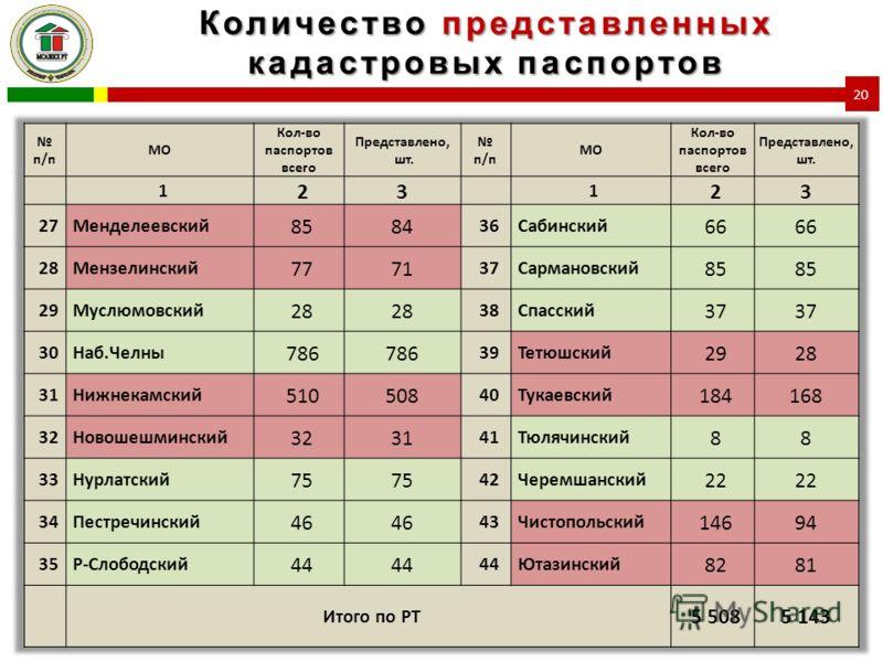 Количество представленных кадастровых паспортов 20