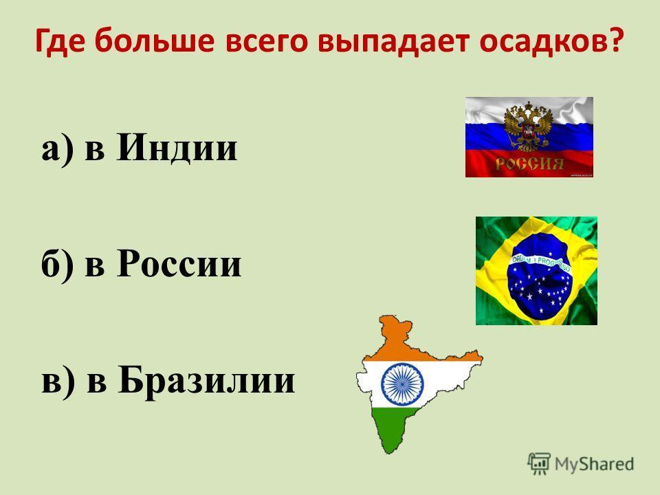 Где больше всего выпадает осадков? а) в Индии б) в России в) в Бразилии