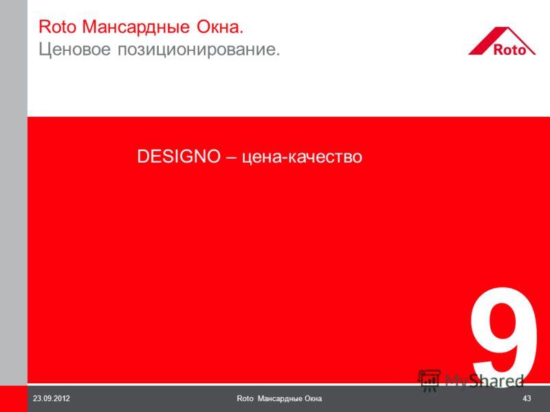 43Roto Мансардные Окна23.09.2012 9 Roto Мансардные Окна. Ценовое позиционирование. DESIGNO – цена-качество