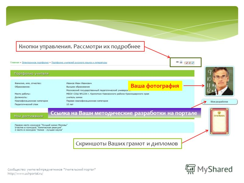 Сообщество учителей-предметников Учительский портал http://www.uchportal.ru/ Скриншоты Ваших грамот и дипломов Ссылка на Ваши методические разработки на портале Ваша фотография Кнопки управления. Рассмотри их подробнее