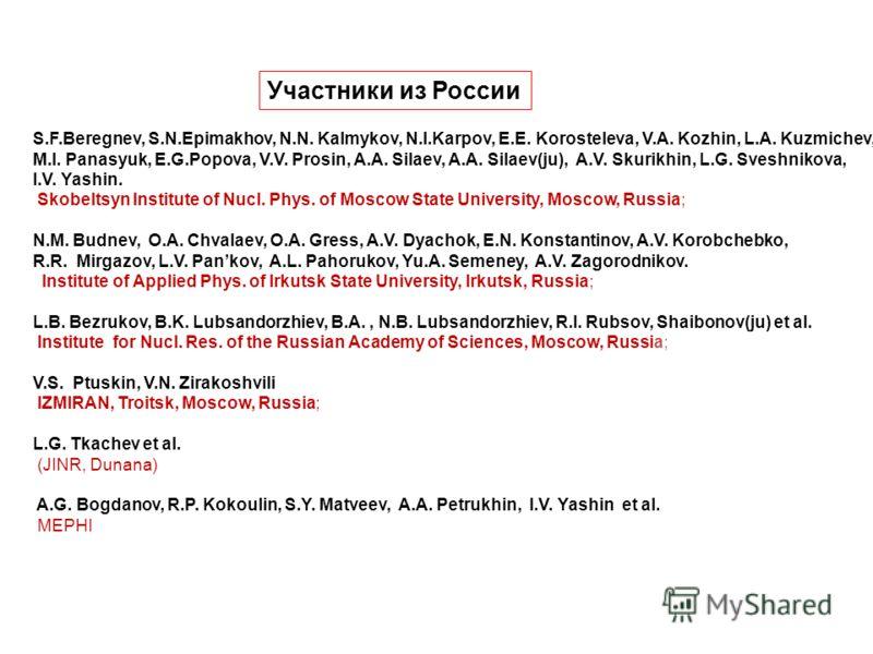 S.F.Beregnev, S.N.Epimakhov, N.N. Kalmykov, N.I.Karpov, E.E. Korosteleva, V.A. Kozhin, L.A. Kuzmichev, M.I. Panasyuk, E.G.Popova, V.V. Prosin, A.A. Silaev, A.A. Silaev(ju), A.V. Skurikhin, L.G. Sveshnikova, I.V. Yashin. Skobeltsyn Institute of Nucl.