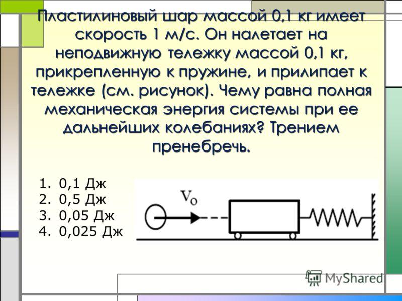 Пластилиновый шар массой 0,1 кг имеет скорость 1 м/с. Он налетает на неподвижную тележку массой 0,1 кг, прикрепленную к пружине, и прилипает к тележке (см. рисунок). Чему равна полная механическая энергия системы при ее дальнейших колебаниях? Трением