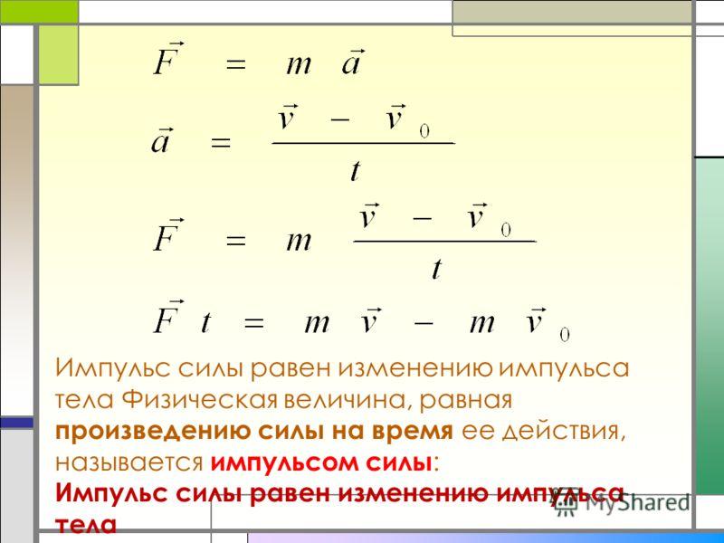 Импульс силы равен изменению импульса тела Физическая величина, равная произведению силы на время ее действия, называется импульсом силы : Импульс силы равен изменению импульса тела