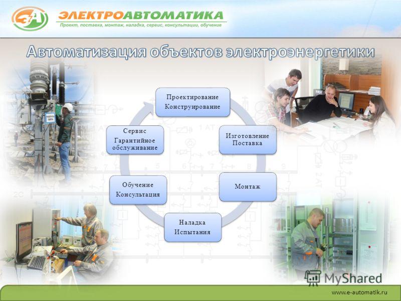 www.e-automatik.ru Проектирование Конструирование Изготовление Поставка Монтаж Наладка Испытания Обучение Консультация Сервис Гарантийное обслуживание