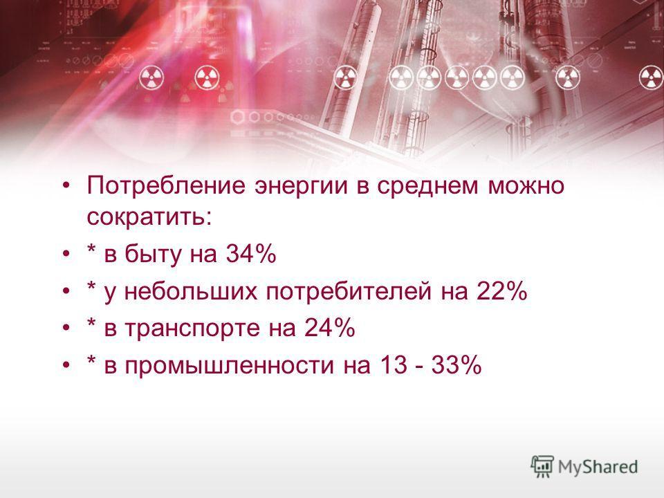 Потребление энергии в среднем можно сократить: * в быту на 34% * у небольших потребителей на 22% * в транспорте на 24% * в промышленности на 13 - 33%