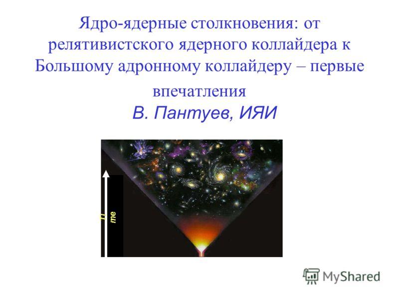 Ядро-ядерные столкновения: от релятивистского ядерного коллайдера к Большому адронному коллайдеру – первые впечатления В. Пантуев, ИЯИ Ti me