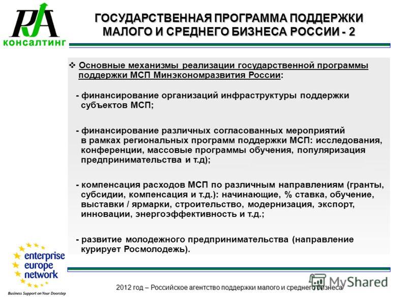 2012 год – Российское агентство поддержки малого и среднего бизнеса ГОСУДАРСТВЕННАЯ ПРОГРАММА ПОДДЕРЖКИ МАЛОГО И СРЕДНЕГО БИЗНЕСА РОССИИ - 2 Основные механизмы реализации государственной программы поддержки МСП Минэкономразвития России: - финансирова