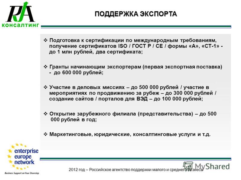2012 год – Российское агентство поддержки малого и среднего бизнеса ПОДДЕРЖКА ЭКСПОРТА Подготовка к сертификации по международным требованиям, получение сертификатов ISO / ГОСТ Р / СЕ / формы «А», «СТ-1» - до 1 млн рублей, два сертификата; Гранты нач