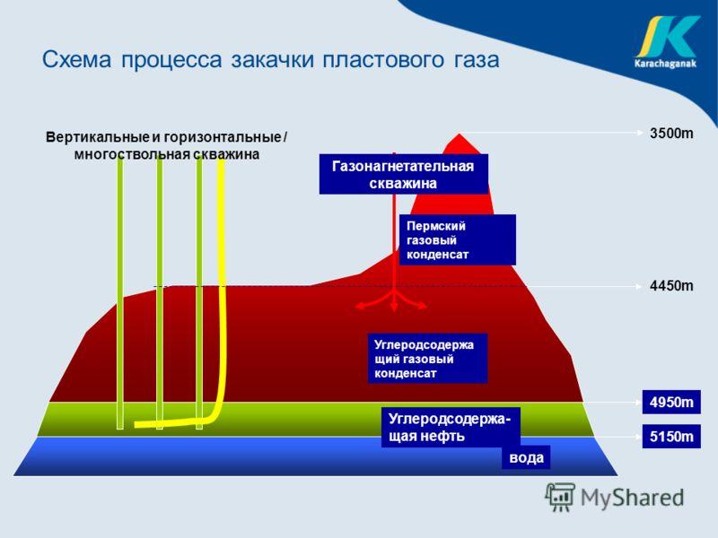 4950m 5150m вода Пермский газовый конденсат Углеродсодержа щий газовый конденсат 4450m 3500m Углеродсодержа- щая нефть Вертикальные и горизонтальные / многоствольная скважина Газонагнетательная скважина Схема процесса закачки пластового газа