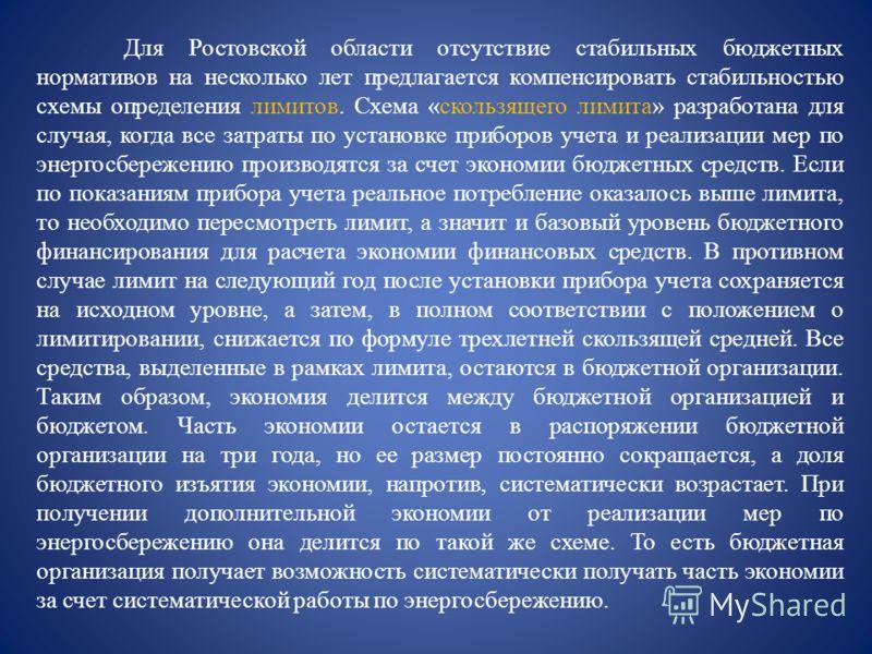Для Ростовской области отсутствие стабильных бюджетных нормативов на несколько лет предлагается компенсировать стабильностью схемы определения лимитов. Схема «скользящего лимита» разработана для случая, когда все затраты по установке приборов учета и