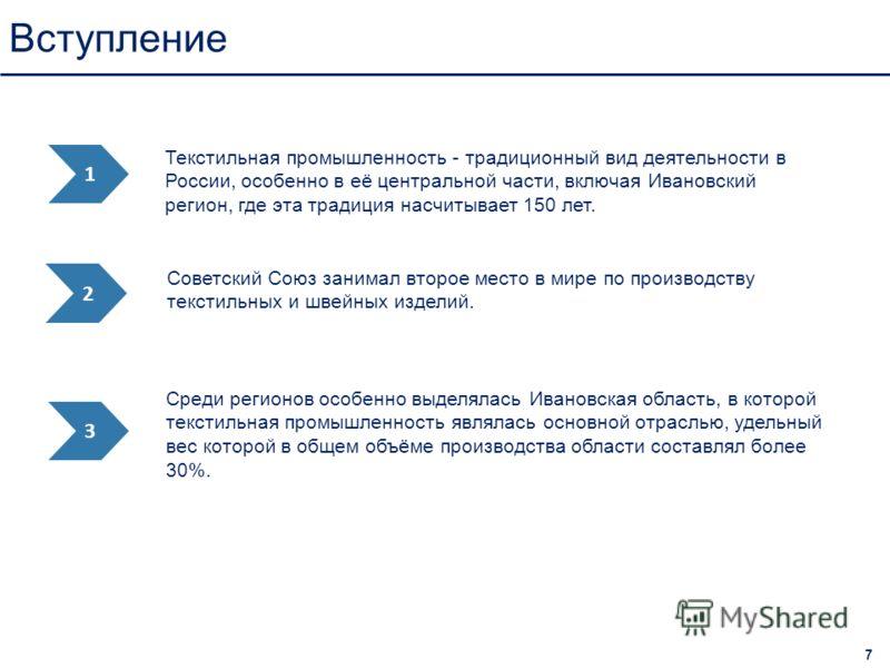 Вступление 7 Среди регионов особенно выделялась Ивановская область, в которой текстильная промышленность являлась основной отраслью, удельный вес которой в общем объёме производства области составлял более 30%. 1 2 3 Советский Союз занимал второе мес