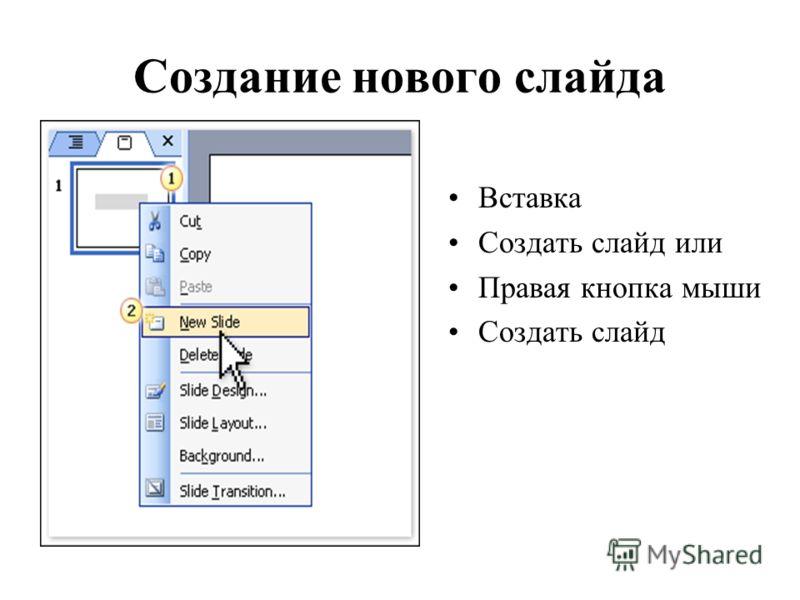 Создание нового слайда Вставка Создать слайд или Правая кнопка мыши Создать слайд