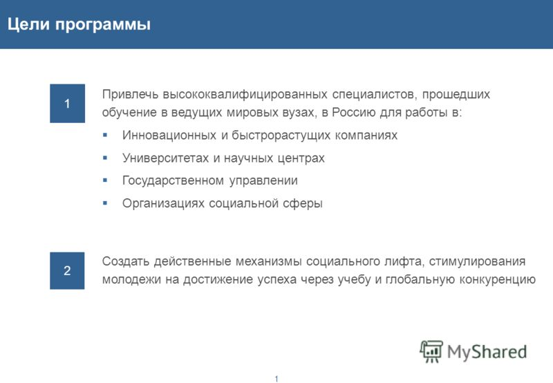 Концепция программы привлечения в Россию специалистов, получивших образование в ведущих международных вузах Общая продолжительность программы - 2012-2025 гг.