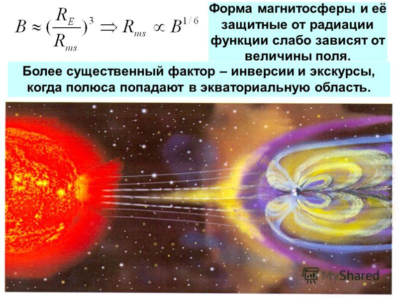 Форма магнитосферы и её защитные от радиации функции слабо зависят от величины поля. Более существенный фактор – инверсии и экскурсы, когда полюса попадают в экваториальную область.