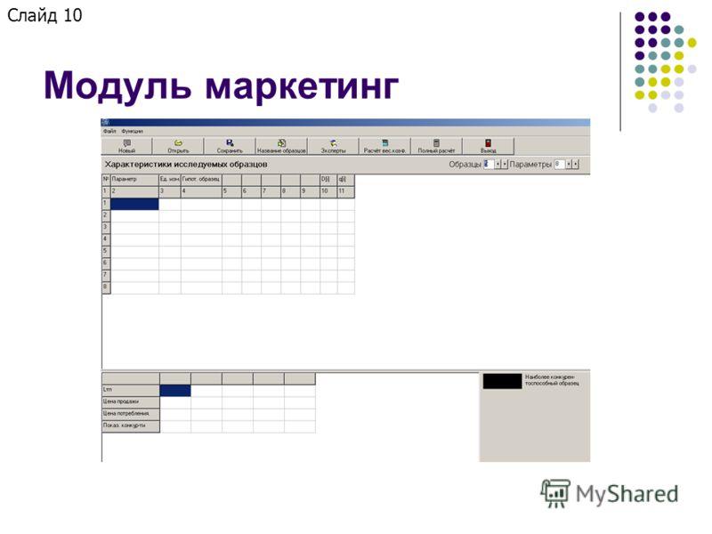 Модуль маркетинг Слайд 10