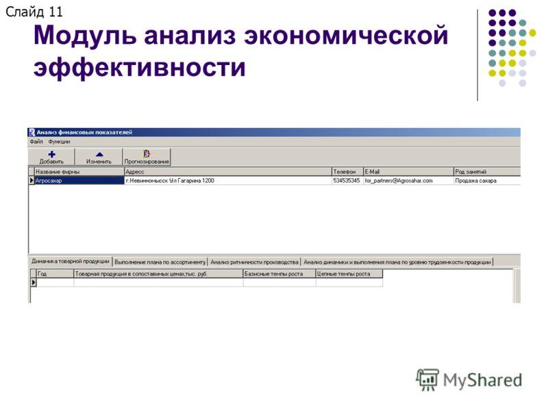 Модуль анализ экономической эффективности Слайд 11