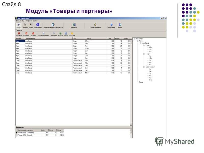 Слайд 8 Модуль «Товары и партнеры»