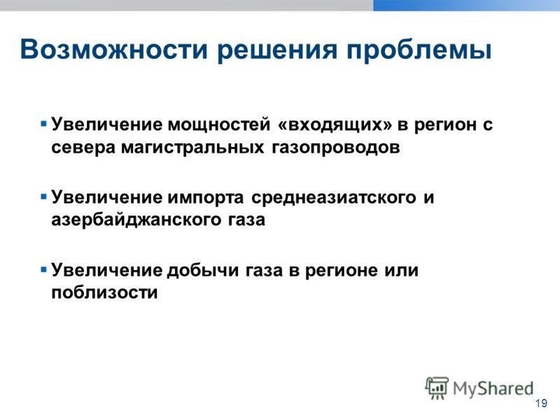 Возможности решения проблемы Увеличение мощностей «входящих» в регион с севера магистральных газопроводов Увеличение импорта среднеазиатского и азербайджанского газа Увеличение добычи газа в регионе или поблизости 19