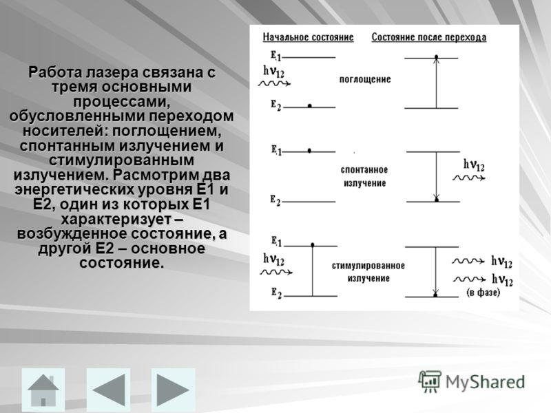 Работа лазера связана с тремя основными процессами, обусловленными переходом носителей: поглощением, спонтанным излучением и стимулированным излучением. Расмотрим два энергетических уровня E1 и Е2, один из которых Е1 характеризует – возбужденное сост
