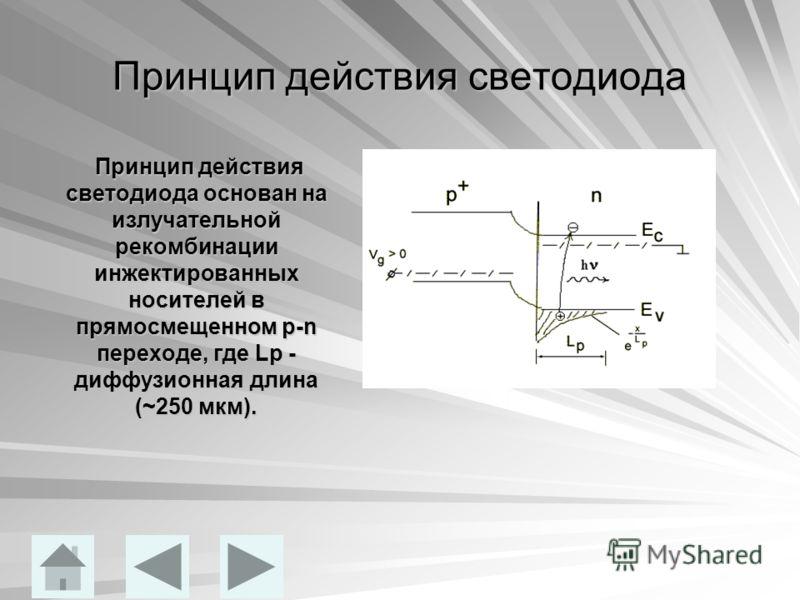 Принцип действия светодиода Принцип действия светодиода основан на излучательной рекомбинации инжектированных носителей в прямосмещенном p-n переходе, где Lp - диффузионная длина (~250 мкм). Принцип действия светодиода основан на излучательной рекомб