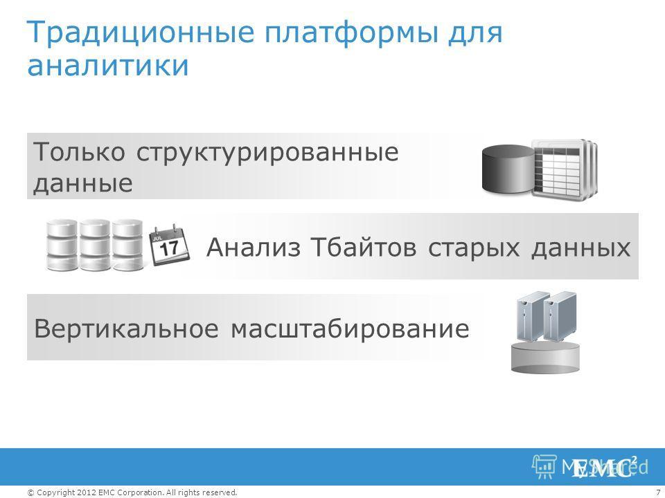7© Copyright 2012 EMC Corporation. All rights reserved. Традиционные платформы для аналитики Только структурированные данные Вертикальное масштабирование Анализ Тбайтов старых данных