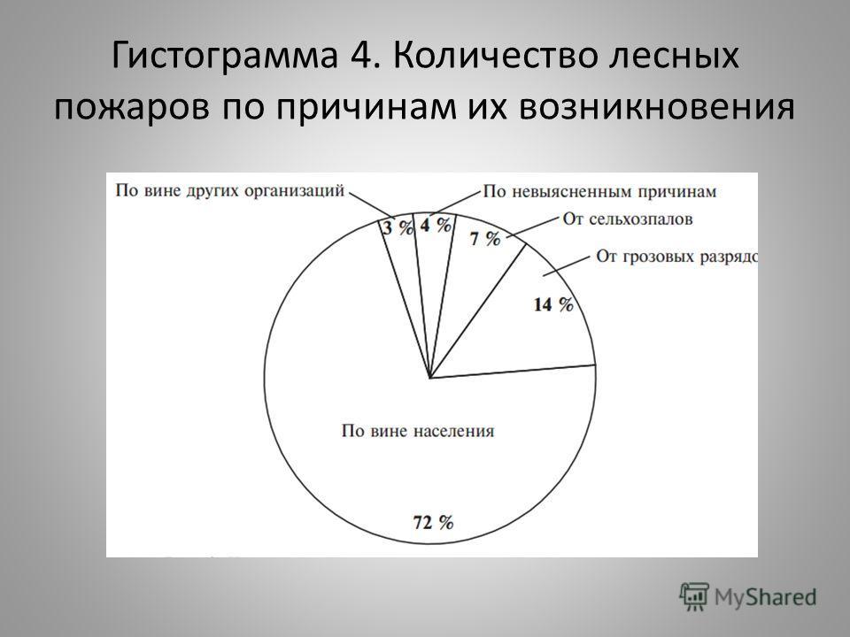 Гистограмма 4. Количество лесных пожаров по причинам их возникновения