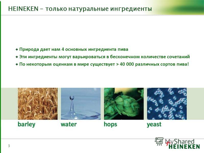 HEINEKEN - только натуральные ингредиенты Природа дает нам 4 основных ингредиента пива Эти ингредиенты могут варьироваться в бесконечном количестве сочетаний По некоторым оценкам в мире существует > 40 000 различных сортов пива! 3