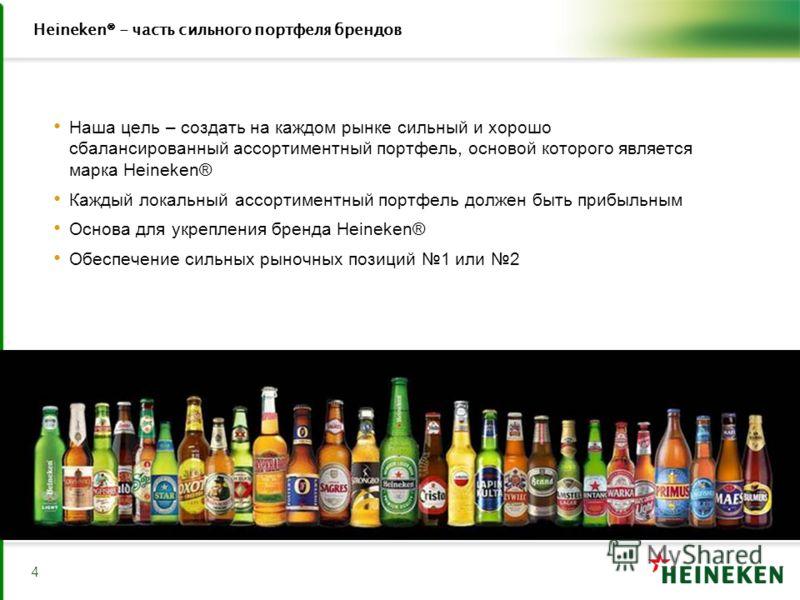 4 Heineken® - часть сильного портфеля брендов Наша цель – создать на каждом рынке сильный и хорошо сбалансированный ассортиментный портфель, основой которого является марка Heineken® Каждый локальный ассортиментный портфель должен быть прибыльным Осн