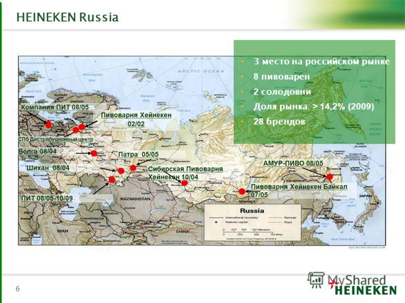 HEINEKEN Russia 6 3 место на российском рынке 8 пивоварен 2 солодовни Доля рынка: > 14,2% (2009) 28 брендов