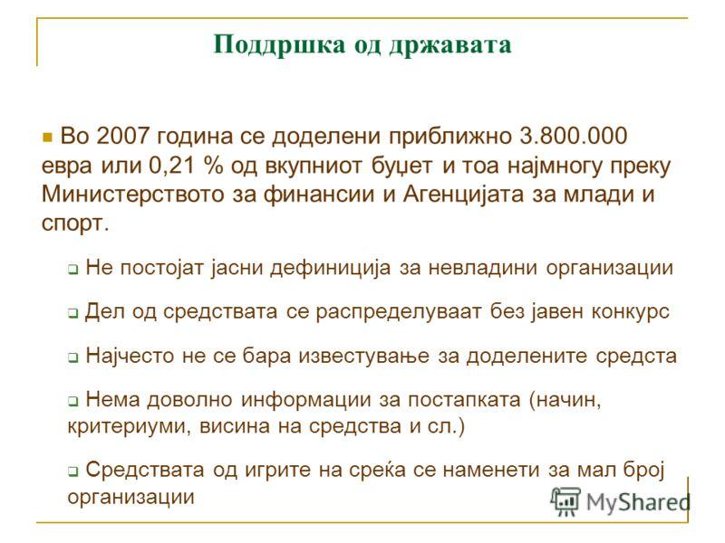 Поддршка од државата Законска основа: Закон за извршување на буџетот на Република Македонија, Закон за здруженија на граѓани и фондации, Одлука за критериуми и постапка за распределба на финансиските средства за здруженијата на граѓани и фондации од